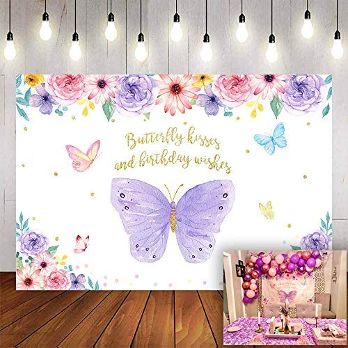 Avezano Butterfly Kisses and Birthday Wishes Backdrop Purple Butterfly Birthday Background 6x4ft product image