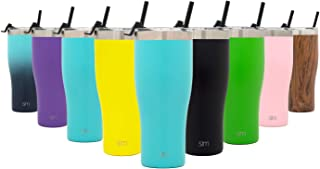 Simple Modern 32oz Slim Cruiser Tumbler with Straw & Closing Lid Travel Mug - Gift Double Wall Vacuum Insulated - 18/8 Stainless Steel Water Bottle -Caribbean
