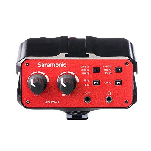 Saramonic SR-PAX1 2 Kanal Audio Mixer Preamp Mikrofon Adapter mit Dual-XLR / 6,3 mm / 3,5 mm Eingänge + 3,5 mm Ausgang für Gitarre Canon Nikon Sony DSLR-Kameras Pentax Panasonic Camcorder