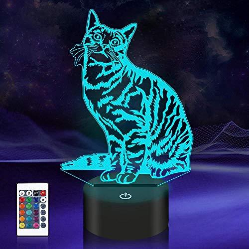 Lámpara de ilusión 3D de 16 colores LED de luz nocturna con control táctil, regalos de Navidad de cumpleaños para niños y gatos