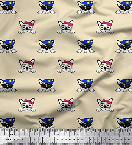 Soimoi Cotton Voile Fabric Cap,Goggles & French Bulldog Face Dog Printed Fabric 1 Yard 42 Inch Wide