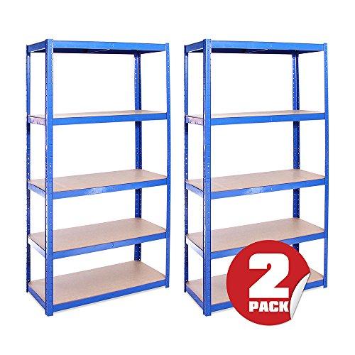 Garage Shelving Units: 180cm x 90cm x 40cm | Heavy Duty Racking Shelves for Storage - 2 Bay, Blue 5 Tier (175KG Per Shelf), 875KG Capacity | For Workshop, Shed, Office | 5 Year Warranty