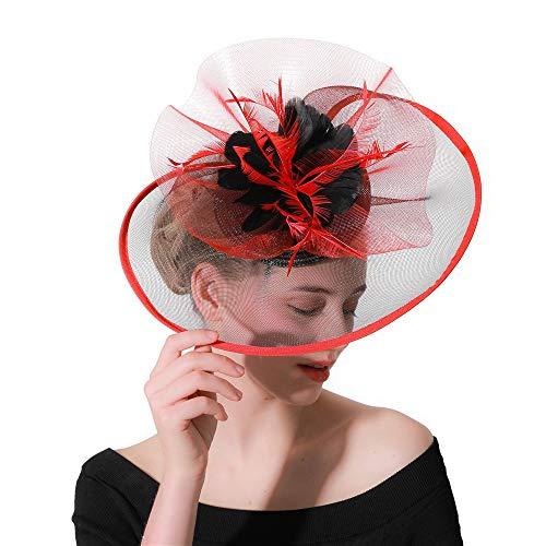 Ryyland-hair clip Sombrero tocados Sombrero de Fascinator Headwear for cóctel Celada de...