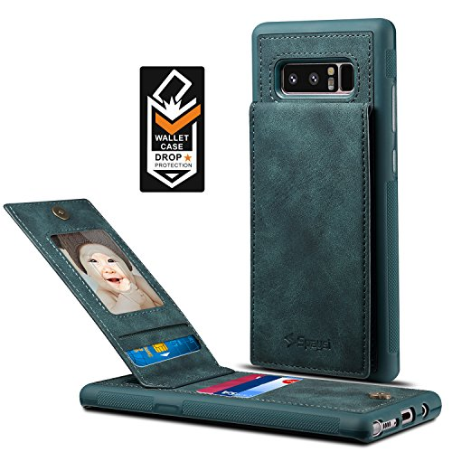 Samsung Galaxy Note 8 Card Holder Case, Note8 Wallet Case Spaysi(TM) Slim, Galaxy Note 8 Folio Leather case, Flip Cover, Gift Box, for Note 8 (Blue)