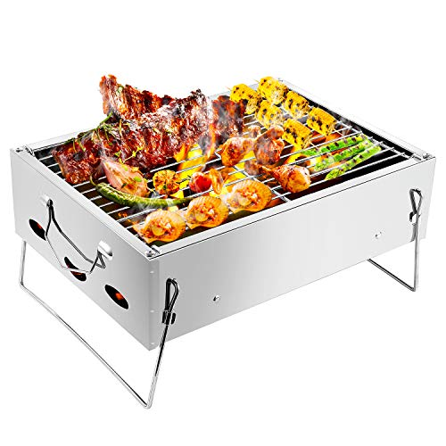 WIKEE Barbecue Charcoal Grill Portable BBQ, Stainless Steel Folding Small Tabletop Mini BBQ Barbecue Charcoal Grill for Camping Outdoor Grilling Hiking Picnics Cooking Tailgating Backpacking Party