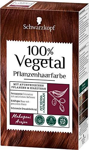100% Vegetal Coloration Mahagoni Stufe 3, 3er Pack (3 x 80 ml) 1NMH