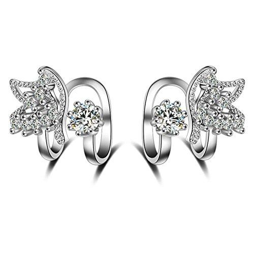 AMDXD Schmuck Ohrklemme 925 Silber Damen Ohrringe Schmetterling Zirkonia Rosegold Ohrpiercing Fake