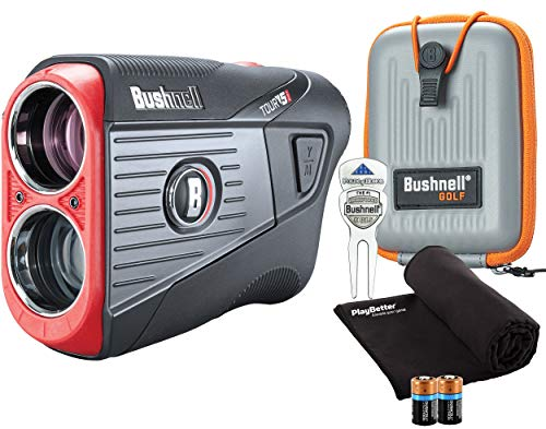 Bushnell Tour V5 Shift (Slope) Golf Laser Rangefinder Patriot Pack PlayBetter Bundle | 2020 | +Carrying Case, Divot Tool, PlayBetter Microfiber Towel, Two Batteries | Pinseeker Jolt, 6X Mag | 201911P