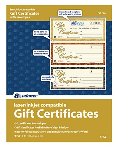 Adams Gift Certificates, Laser/Inkjet Compatible, 3-Up, 30 per Pack with Envelopes (GFTLZ),White