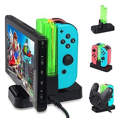 Charging Dock for Nintendo Switch,KOBWA Charger Station for Nintendo Switch Controller Charging Dock 6 in 1 Joy-Con Pro Controller Charger Station with Individual LEDs Indication