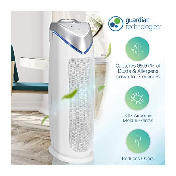Guardian Technologies Germ Guardian HEPA Filter Air Purifier, UV Light Sanitizer, Eliminates Germs, Filters Allergies… 5 4 in 1 air purifier for home: True HEPA air filter reduces up to 99.97% of harmful germs, dust, pollen, pet dander, mold spores, and other allergens as small as .3 microns from the air Kills germs: UV-C light helps kill airborne viruses such as influenza, staph, rhinovirus, and works with Titanium Dioxide to reduce volatile organic compounds Traps allergens: Pre filter traps dust, pet hair, and other large particles while extending the life of the HEPA filter