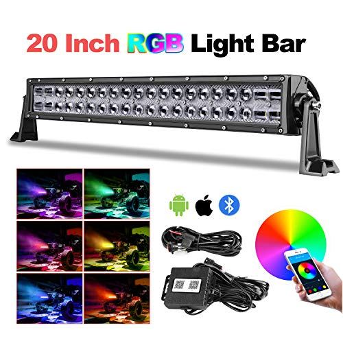Teochew-LED RGB LED Light Bar, 20 Inch 5D Chasing Light Bar RGB Color Changing Light Spot Flood Combo Beam LED Light Bar with Wiring Harness Offroad Driving Light for Truck ATV UTV RZR 4X4 SXS