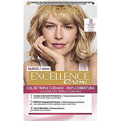 L'Oréal Paris Excellence Coloración Crème Triple Protección, Tono: 8 Rubio Claro