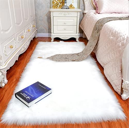 linyingdian Alfombra de Lana Artificial Suave de Lujo Antideslizante, Manta de Lana de Piel Artificial, Utilizada en la Sala de Estar, el Dormitorio, el cojín del sofá del baño (Blanco, 60x90cm)