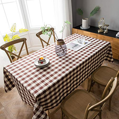 Aquazolax Large Checkered Tablecloth for 6ft Long Rectangle Tables Buffalo Plaid Table Covers for Dinning Room/Kitchen, 60x84 inch, Brown