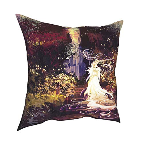 Q&SZ Sweatshirt Fantasy Art House Decor Surreal Silhouette of Elf Lady Goddess On Stair In Dreamy Garden Magenta Green Various Specifications Fashion Pillow - No Inserts Included
