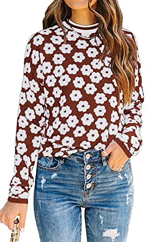 PRETTYGARDENWomen's Knit Floral Print Sweater Crewneck Long Sleeve Lightweight Pullover Sweatshirt (Brown, Medium, m)