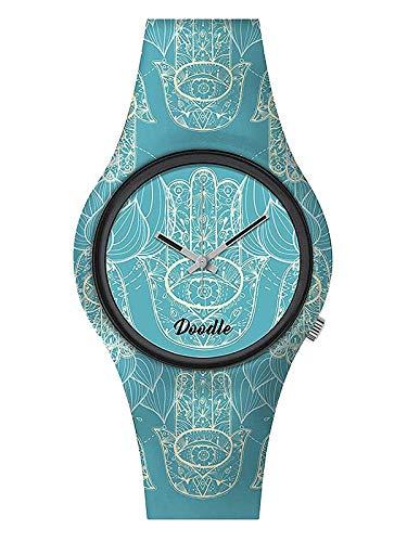 Doodle Watch Reloj de pulsera Oriental Mood Tattoouhr Hamsa mano turquesa DO39003