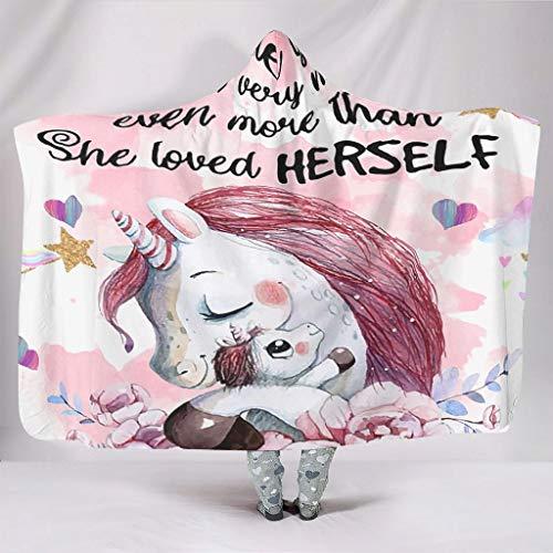 Bestwe Baby Unicorn You Are Braver Love TV-Decke mit Kapuze Flauschig und Warm Hochflor Decke Für Bett Couch Stuhl Männer Frauen Winter Frühling White 150x200cm