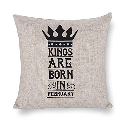 Federa quadrata in cotone e lino, per cuscini, decorazione per la casa, per divano, letto, sedia, re nati nel mese di febbraio-01
