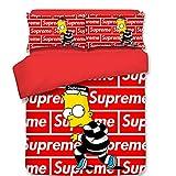 XKNSYMRL Kissenbezug 40X60 Kinder, Die Simpsons 3D Digitaldruck Kinder Tagesdecke, Upgrade Polyester Baumwolle Easy Care Einfache Bettbezüge Und Kissenbezug, Für Kinder Jungen (200X250Cm)