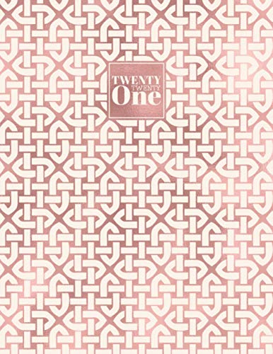 2021: Diary Day to Page A4 Full Day to View Daily Planner   Lined Writing Journal   Ivory & Rose Gold Celtic Knots Pattern (2021 A4 Daily Diaries)