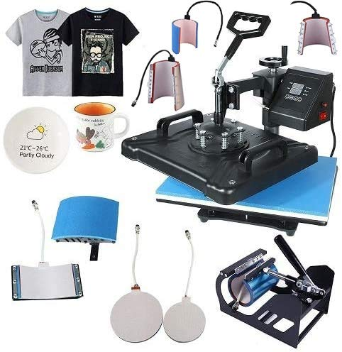 Heat Tshirt Press Machine 8 in 1 Combo Multifunctional Swing Away Clamshell Printing Sublimation Maker for T-Shirt Hat Cap Mug Plate 15' x 12'-Shirt Printing (Black&Bleu, 8 in 1)