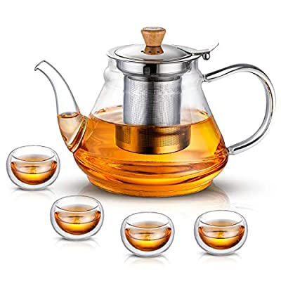 SUSTEAS 1000ml/33oz Glass Teapot with Extra Double Wall cups, Removable Stainless Steel Infuser, Borosilicate Glass Tea Kettle, Blooming & Loose Leaf Teapots