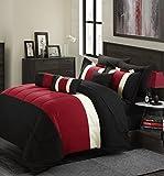 Chic Home Serenity 10 Piece Comforter Set, Queen, Red