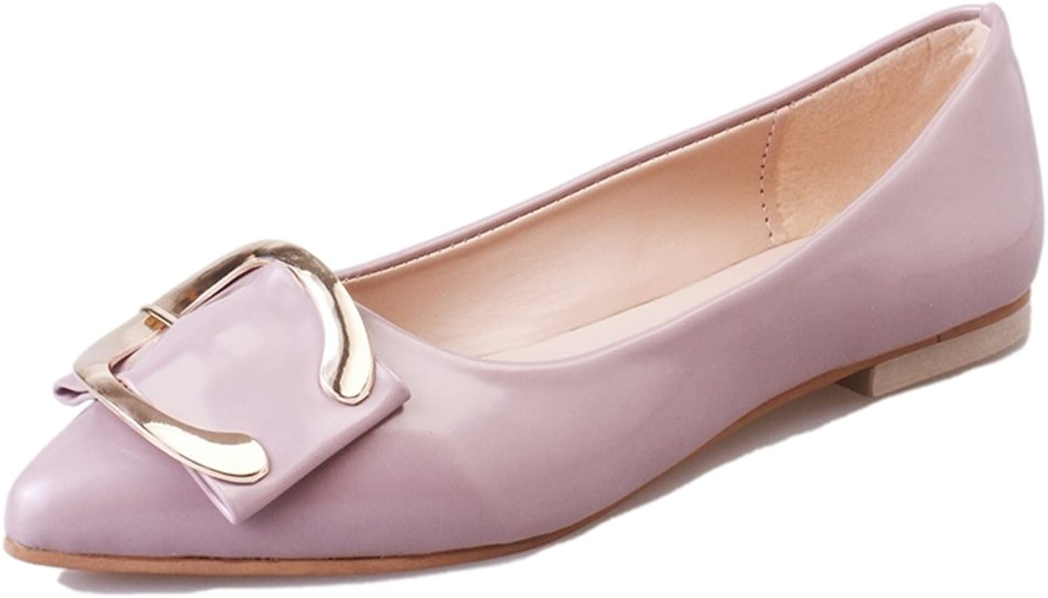 RHFDVGDS autumn pointed flat casual shoes Elegant pale leather fashion Lady shoes