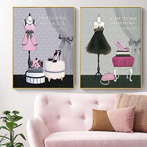 Terilizi Nordic vintage jurk High Heels lederen tas kunstdruk en poster canvas schilderij voor kleding Shop Home Decor Foto-50 * 70cm niet ingelijst-2 stuks