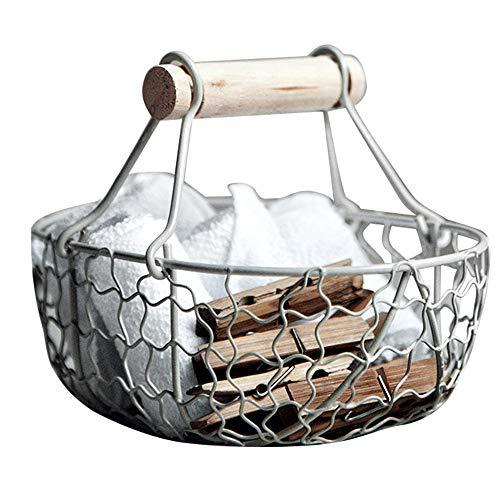 Jroyseter Cestas para Huevos Soporte de Almacenamiento de Huevos Contenedor de Cocina Forjado del Hierro de la Vendimia para Residuos Vegetales Frutas, Decoración Colgante (White)