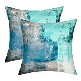 Yastouay 2 Pack Teal Decorative Throw Pillow Covers 20 x 20 inch Turquoise Pillow Cases Teal and Grey Pillow Covers Home Decor Cushion Cover for Couch Sofa Bed Living Room