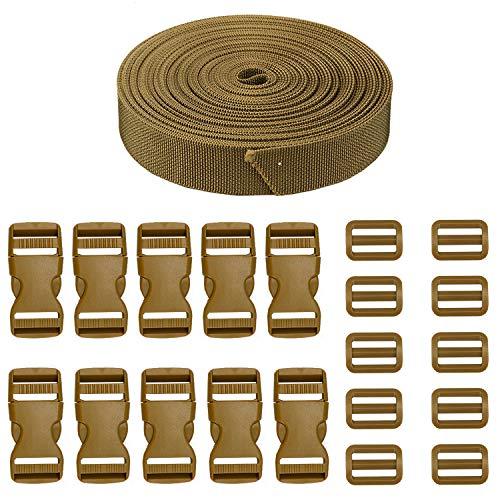 JETEDC(ジェットイデイシイ)Molle スーツケースベルト 荷崩れ防止 ベルト10セット 25mm×10m ワンタッチ式ロックプラスチックロック10個入り 荷締めベルト 作業用ベルト 調整可能 (深いカーキ)