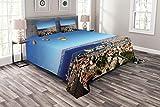 ABAKUHAUS Frankreich Tagesdecke Set, Luftaufnahme von Marseille, Set mit Kissenbezügen Weicher Stoff, für Doppelbetten 264 x 220 cm, Azurblau & Multicolor