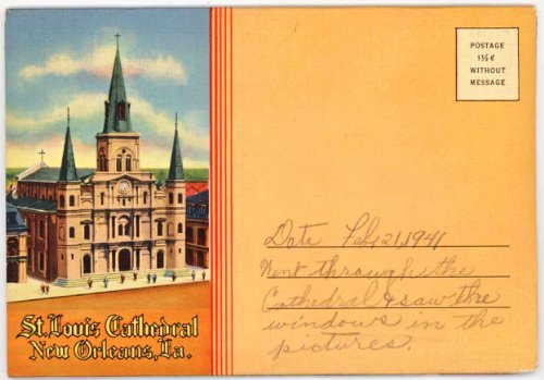St. Louis Cathedral - New Orleans Louisiana (1930's Souvenir Curt Teich Postcard Folder) #D-5283