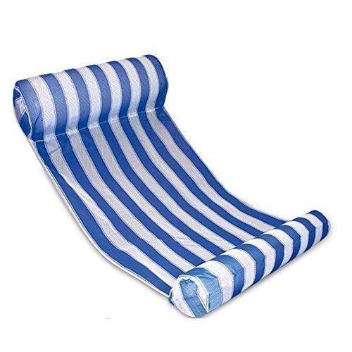 浮き輪ベッド、水上 ビーチボード 水泳プールラウンジ ウォーターハンモック フロート、水遊び 暑さ対策 プール・海・川 水泳用品 夏アウトドア 大人用 (ストライプ-ブルー, 66 x 133cm)