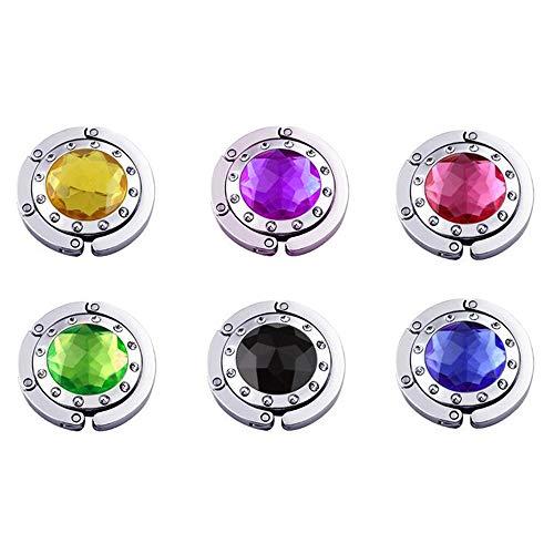 IWILCS 6 Gancho Redondo Plegable Cuelga, Ganchos Plegables Multicolor con Diamantes para Bolso y Monedero Joyas Collares y Llaveros