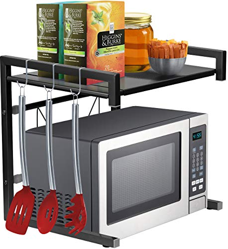 Sorbus Microwave Oven Rack Shelf Stand with Hooks, Expandable Adjustable Kitchen Countertop Storage Organizer, Space-saver