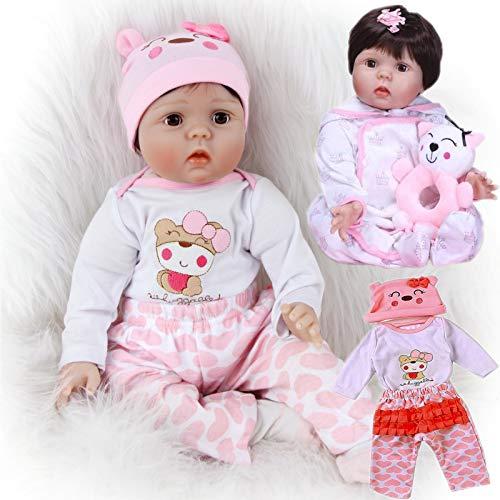 ZIYIUI 22 Pulgadas 55 cm Reborn Muñecas bebé Realista Suave Silicona Simulación Vinilo Recién Nacido Hecho a Mano Bebe Muñecos Regalo Juguetes para niños Mayores