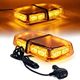 Linkitom LED Strobe Warning Light -36 LED High Intensity Emergency Flashing Lamps/Hazard Warning Mini Lighting Bar/Beacon/with Magnetic Base for Car Trailer Roof Safety (Amber)