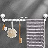LUXEAR Suction Cup Towel Bar, 24 inches Adjustable Towel Rack, No Drill & Removable Hand Towel Holder with 5 Sliding Hooks, Wall Mounted Towel Hanger for Bathroom, Kitchen, Door - White
