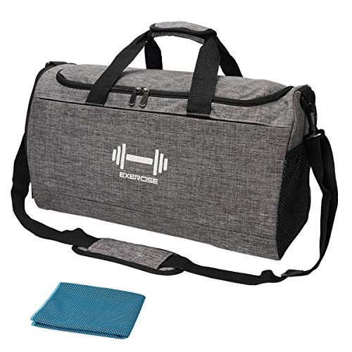 Sports Gym Bag with Shoes Compartment and Wet Pocket Travel Duffel Bag for Men and Women-Gray