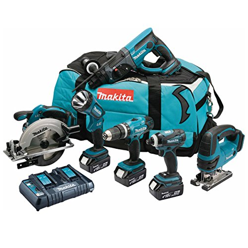MAKITA Pack 6 machines DLX6017PM avec 3 batteries 18V 4Ah Li-ion, sac de transport et chargeur DC18RD