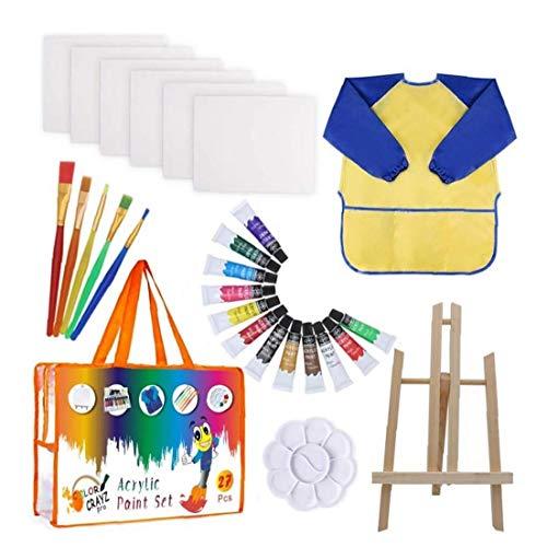 Pintura acrílica Conjunto, 27pcs / set Cepillos de acrílico conjunto de dibujos para niños, Aprendizaje Temprano y Pintura Juego de pintura con bandeja, delantal, Papel de dibujo caballete y Cepillos