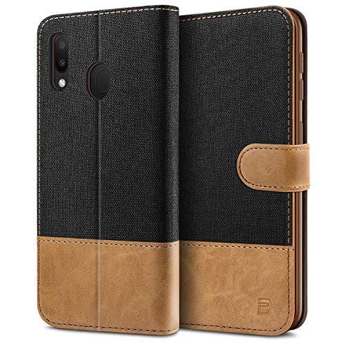 BEZ Handyhülle für Samsung Galaxy M20 Hülle, Tasche Kompatibel für Samsung Galaxy M20, Schutzhüllen aus Klappetui mit Kreditkartenhaltern, Ständer, Magnetverschluss, Schwarz