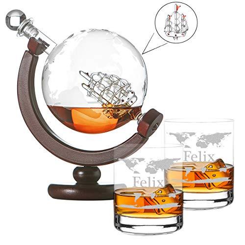 polar-effekt Whiskykaraffe Globus Segelschiff mit Weltkarte - Zwei Whiskygläser Tumbler mit Gravur Motiv Weltkarte - Whisky-Flasche Weltkugel Dekanter aus Glas 850ml, Geschenk für Männer