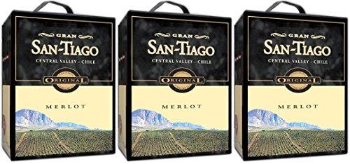 3 x SAN TIAGO MERLOT Bag in Box 3 Liter 13,5% vol. Incl. Goodie von Flensburger Handel