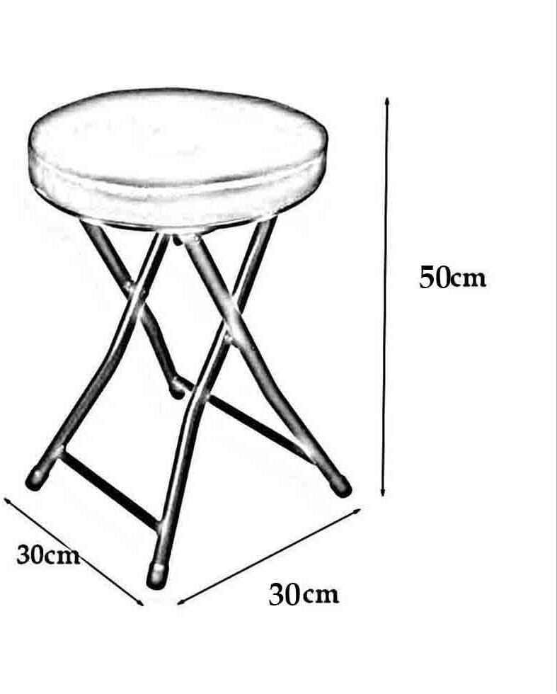 YCSD Tabouret pliant compact en forme ronde avec cadre en acier de coussin PU, hauteur assise 50cm - 6 couleurs (Couleur : Pink) Noir