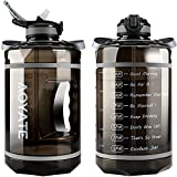 1 Gallon /128 OZ Motivational Water Bottle with Time Marker & Straw, Leakproof Large Water Jugs with Handle, [Wide Mouth] Tritan BPA Free Sports Water Bottle for Fitness Gym Outdoor Sports (Black)